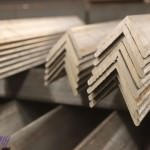 Steel angles cut on band saw