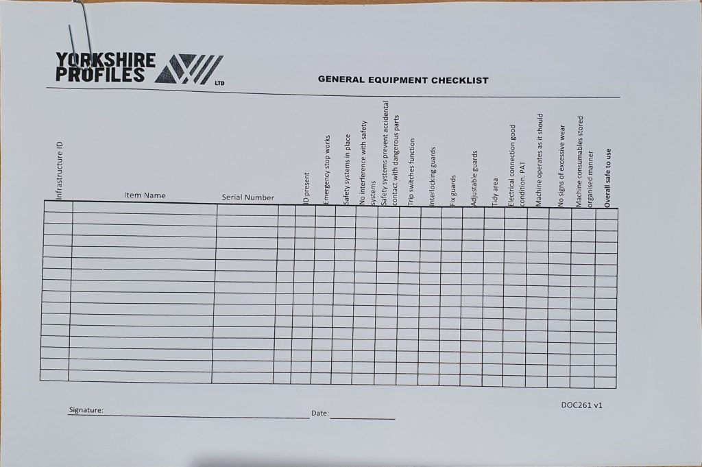 old equipment checklist